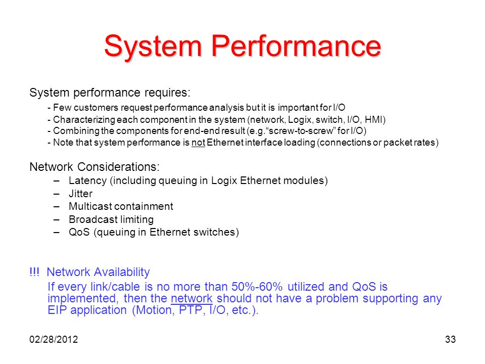 System Performance System performance requires: