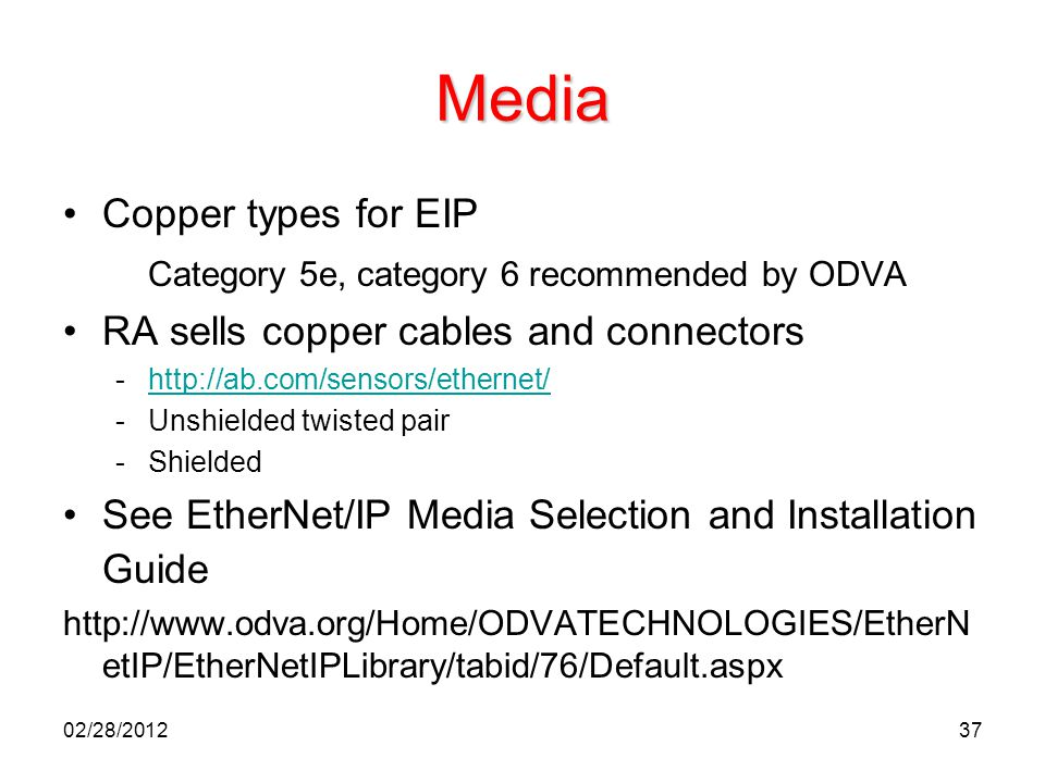 Media Copper types for EIP Category 5e, category 6 recommended by ODVA