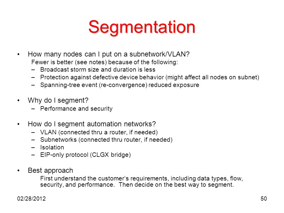 Segmentation How many nodes can I put on a subnetwork/VLAN