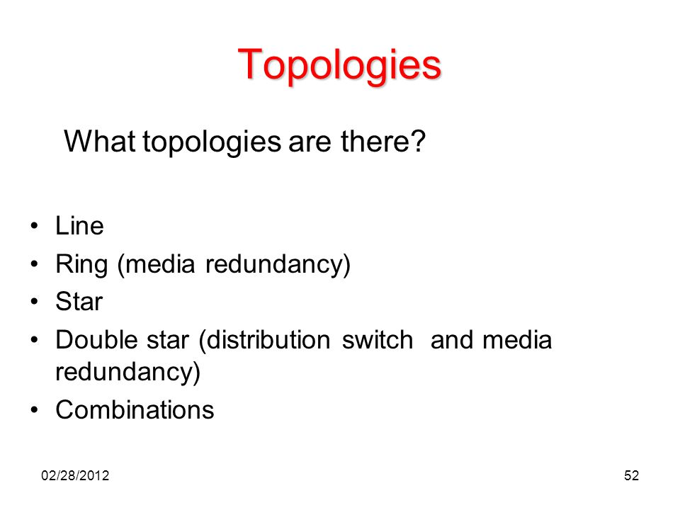 Topologies What topologies are there Line Ring (media redundancy)