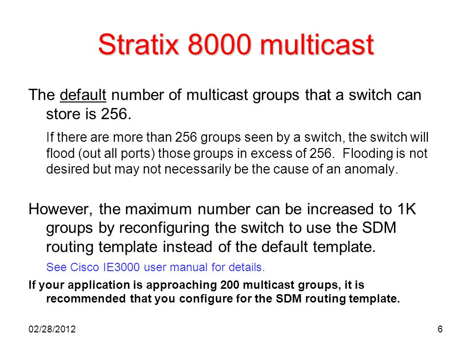 Stratix 8000 multicast The default number of multicast groups that a switch can store is 256.