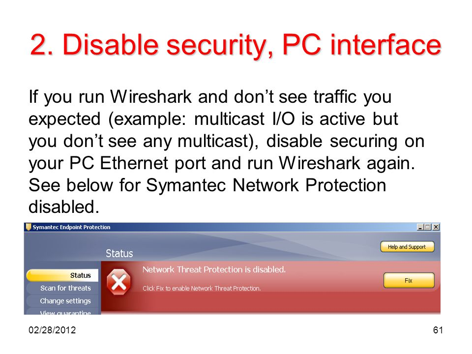 2. Disable security, PC interface