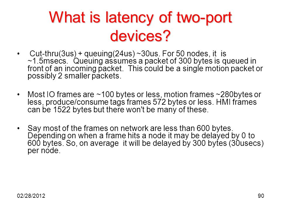 What is latency of two-port devices