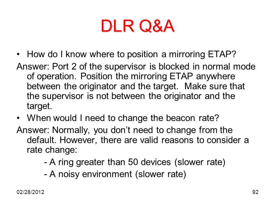 DLR Q&A How do I know where to position a mirroring ETAP