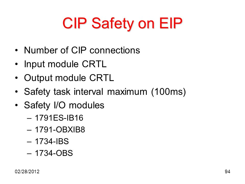 CIP Safety on EIP Number of CIP connections Input module CRTL