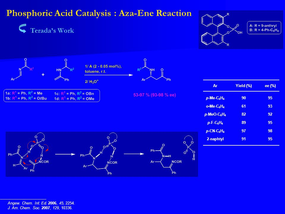 Phosphoric Acid Catalysis : Aza-Ene Reaction