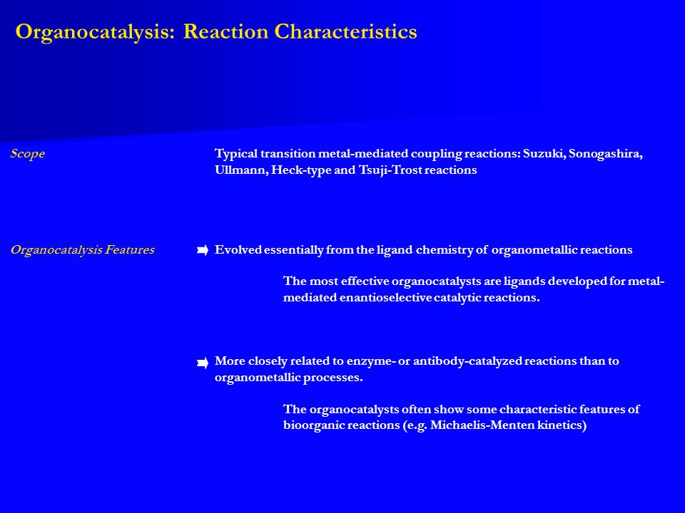 Organocatalysis: Reaction Characteristics