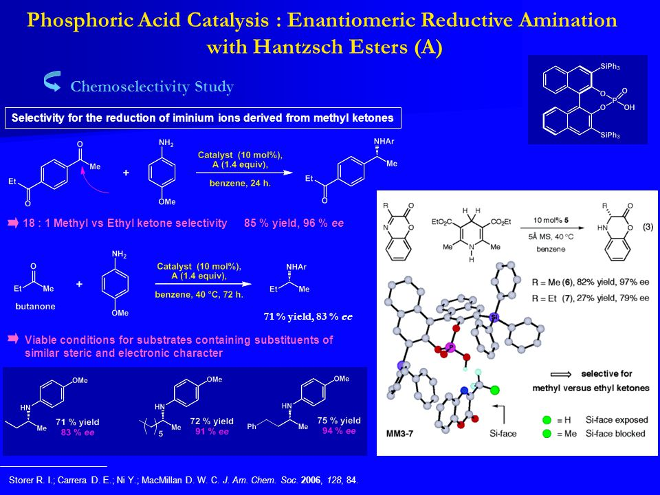 Phosphoric Acid Catalysis : Enantiomeric Reductive Amination