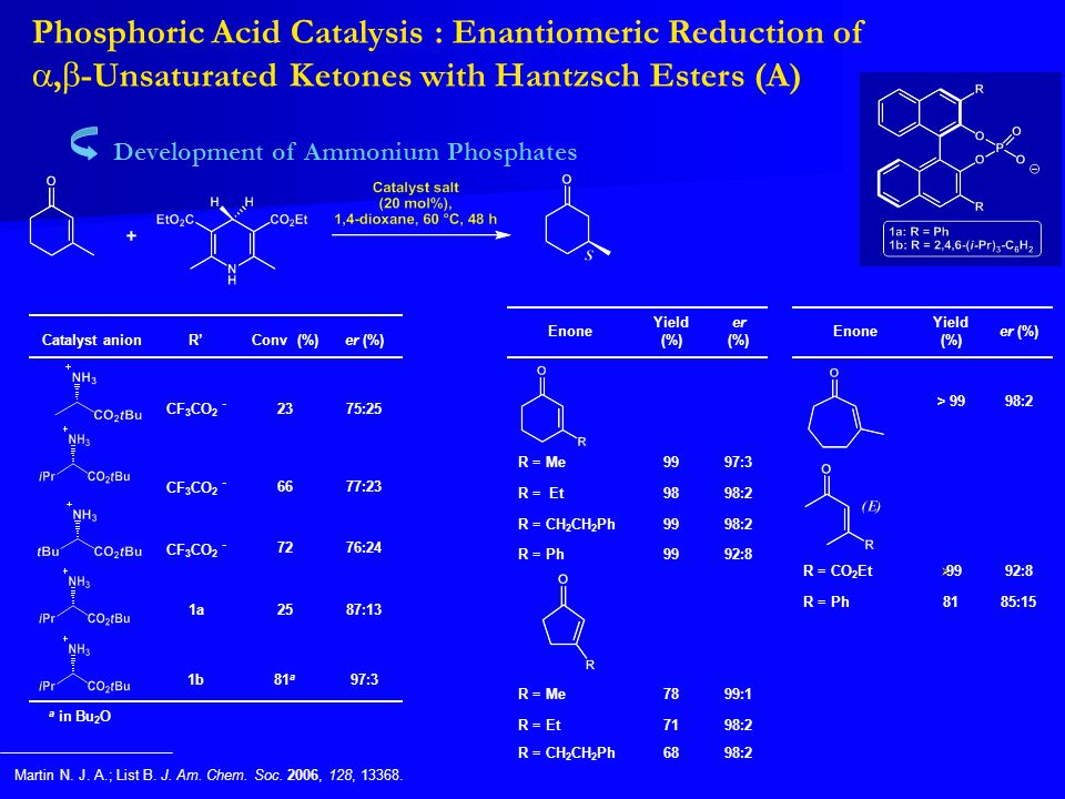 Phosphoric Acid Catalysis : Enantiomeric Reduction of