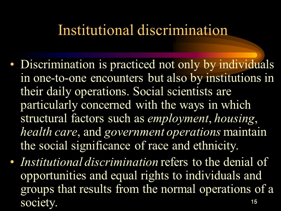 institutional discrimination Which policies listed are forms of institutional discrimination, that is systematic  discrimination against a particular group of people, against what group(s),.