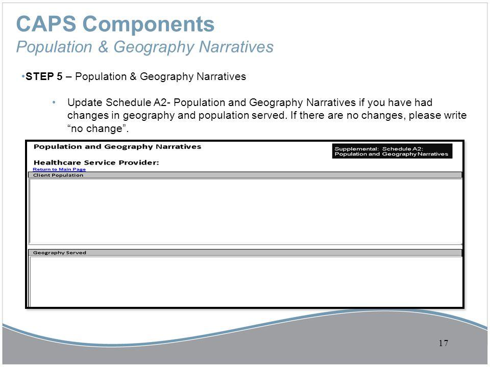 CAPS Components Population & Geography Narratives