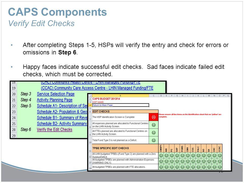 CAPS Components Verify Edit Checks