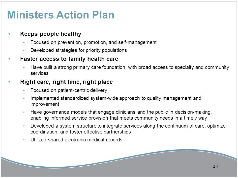Ministers Action Plan Keeps people healthy