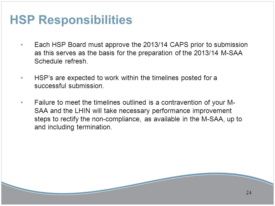 HSP Responsibilities