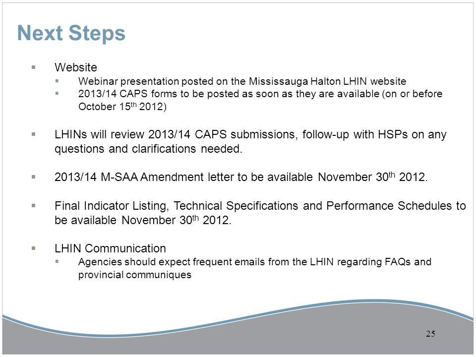 Next Steps Website. Webinar presentation posted on the Mississauga Halton LHIN website.
