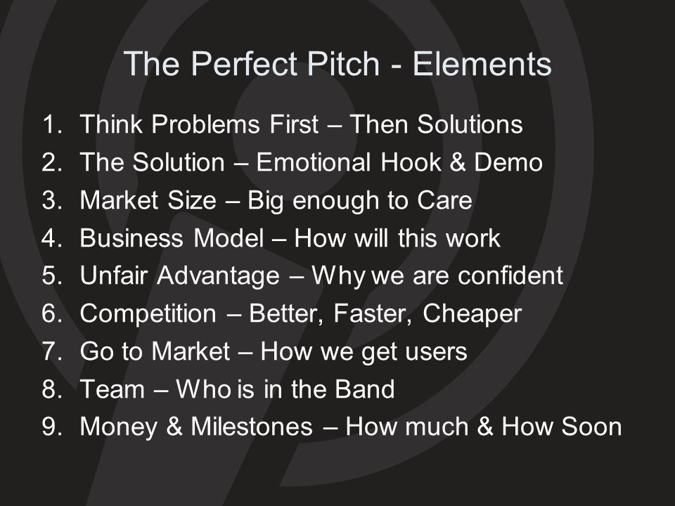 The Perfect Pitch - Elements
