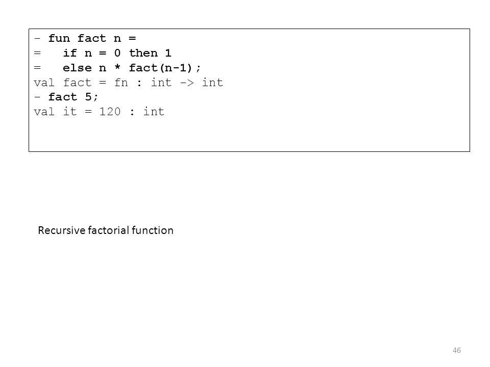 - fun fact n = = if n = 0 then 1 = else n
