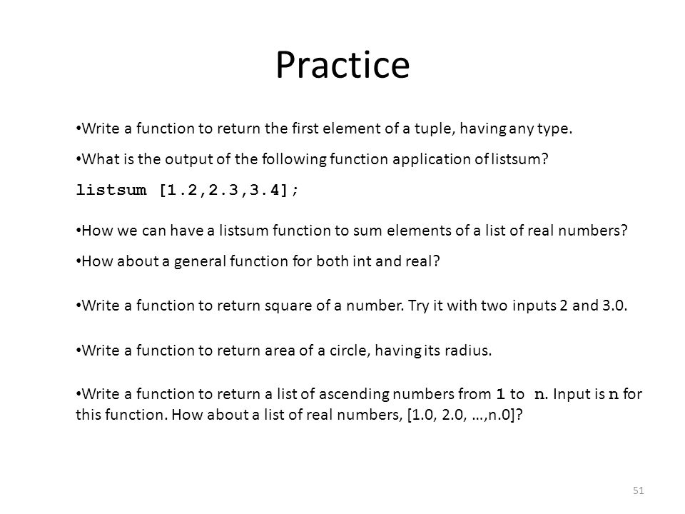 Practice Write a function to return the first element of a tuple, having any type.