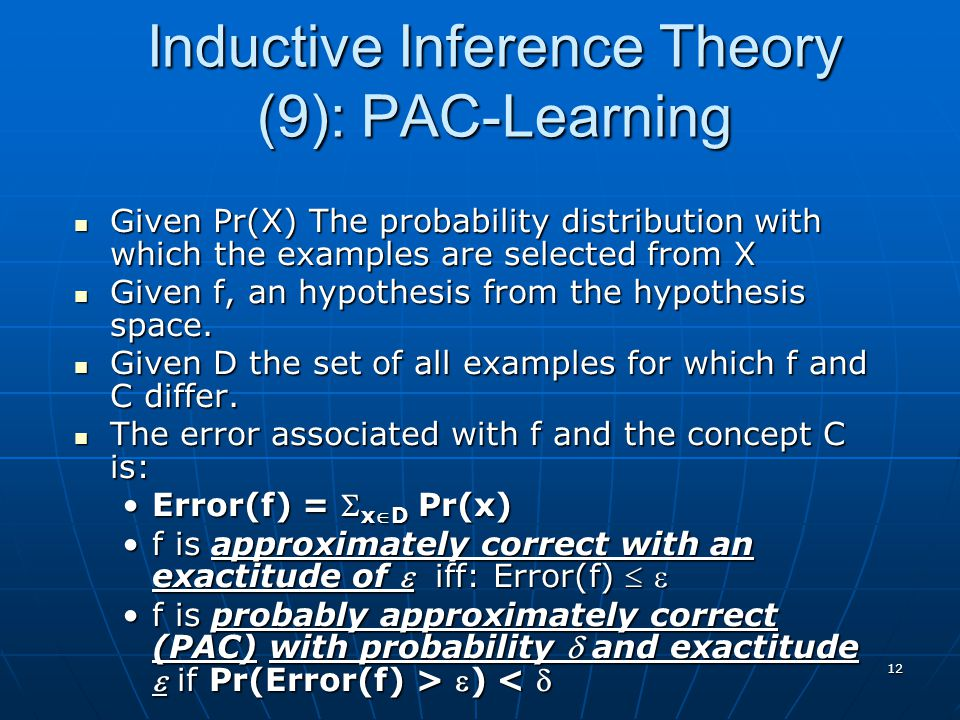 Inductive Inference Theory (9): PAC-Learning