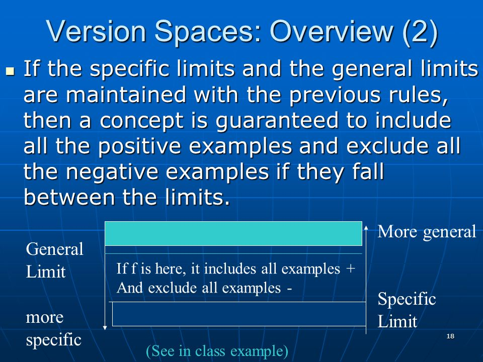 Version Spaces: Overview (2)