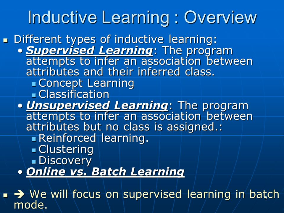 Inductive Learning : Overview