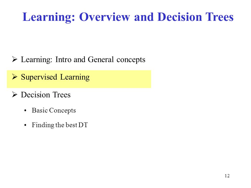 Learning: Overview and Decision Trees