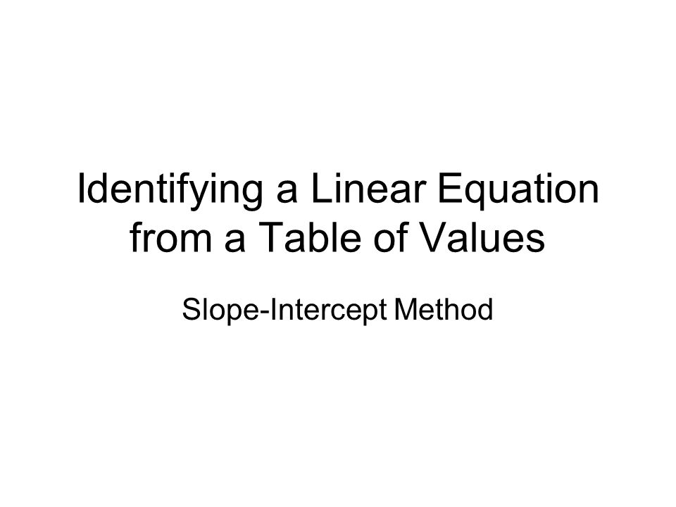 Identifying a Linear Equation from a Table of Values
