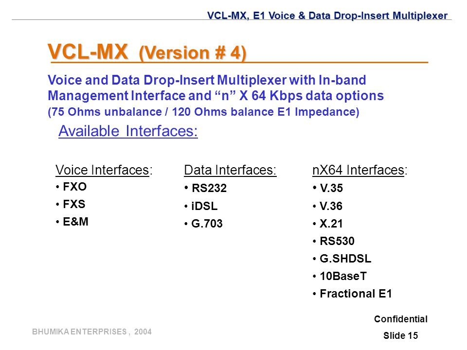 VCL-MX (Version # 4) Available Interfaces: