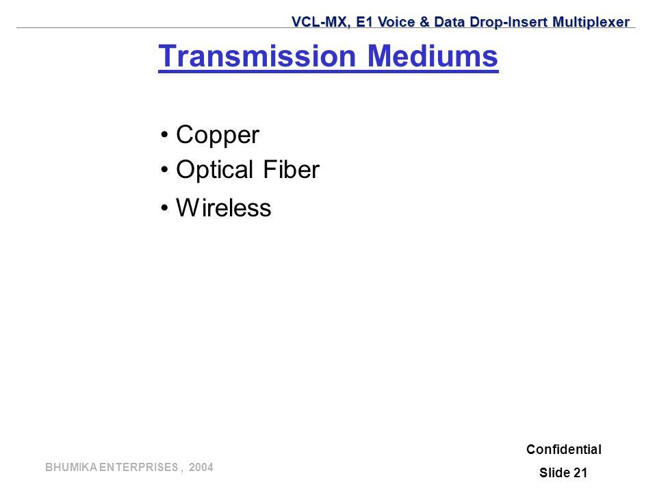 Transmission Mediums Copper Optical Fiber Wireless