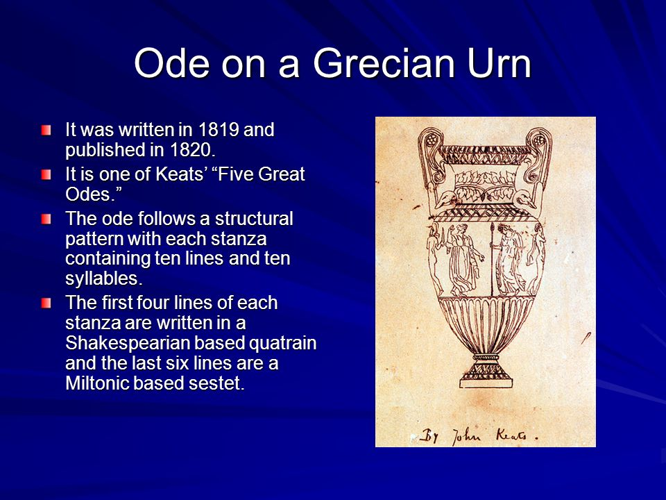 essays on keats poems Ode on a grecian urn is one of the most memorable and important poems in the romantic period of john keats the poem is notable which is important for its persuasive.