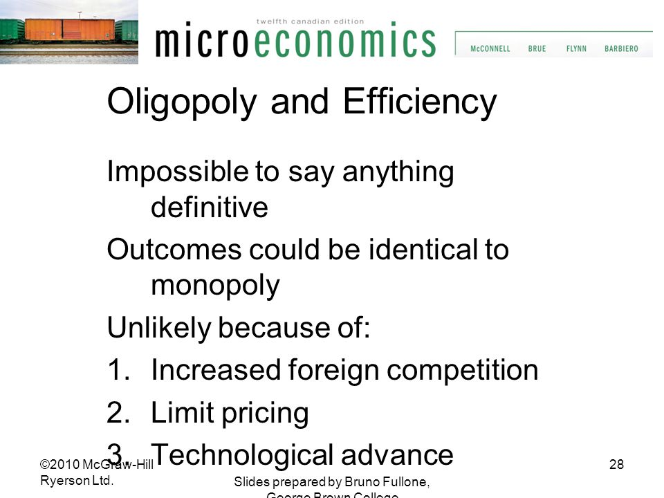 Oligopoly and Efficiency