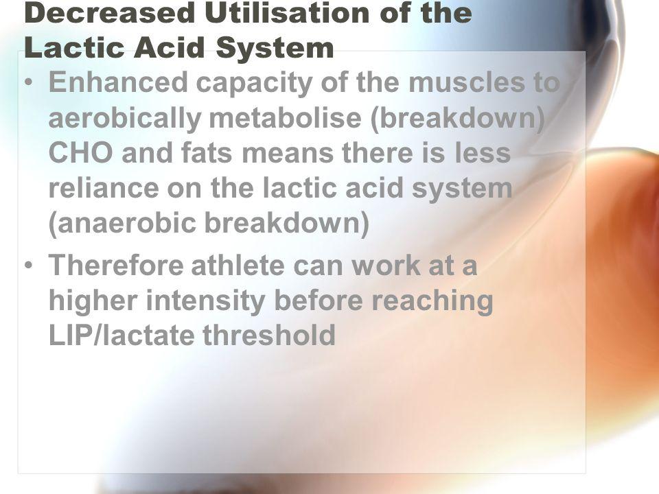 Decreased Utilisation of the Lactic Acid System
