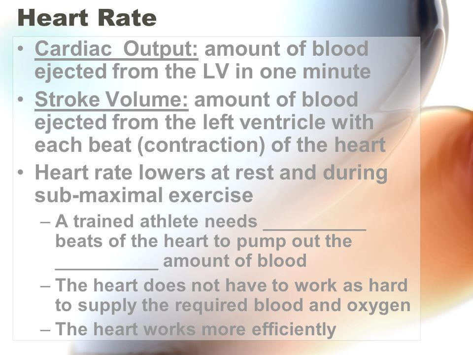 Heart Rate Cardiac Output: amount of blood ejected from the LV in one minute.