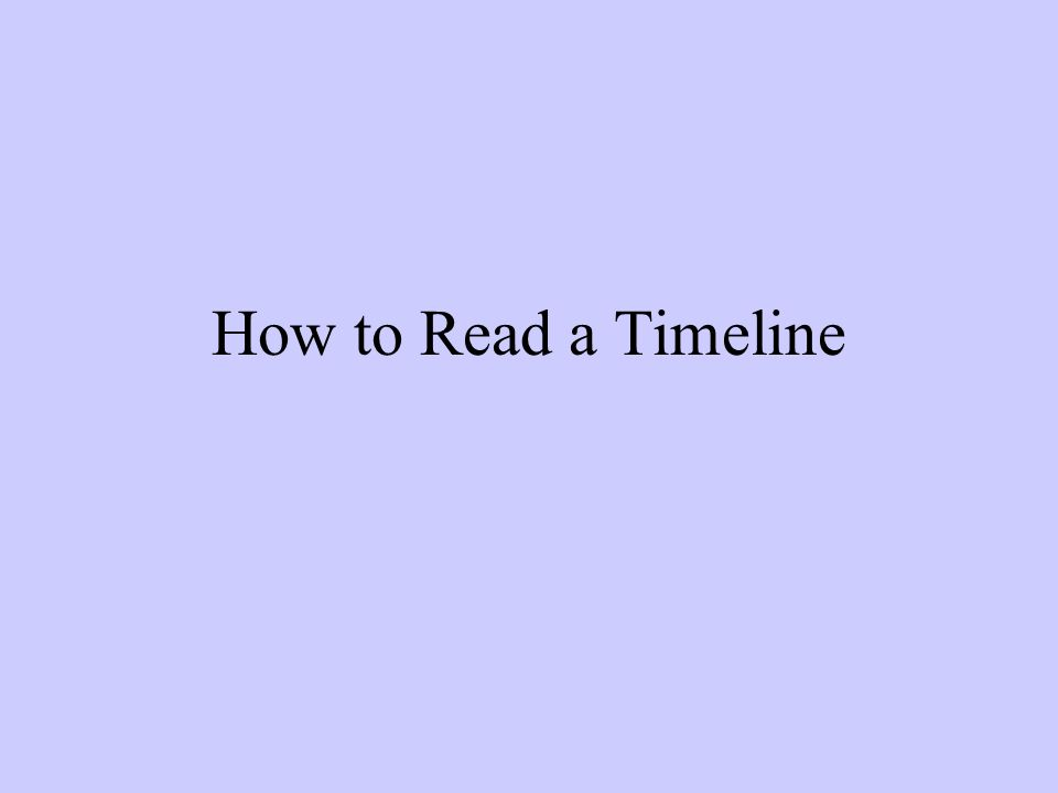 How to Read a Timeline