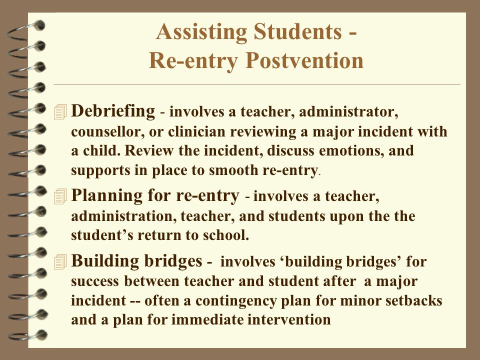 Assisting Students - Re-entry Postvention