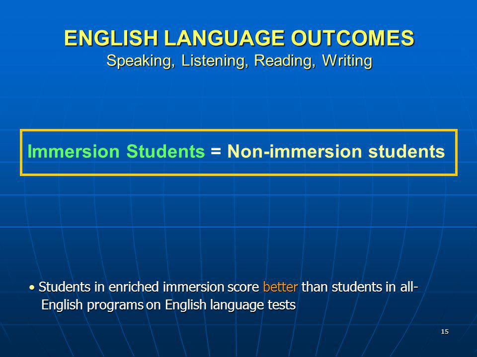ENGLISH LANGUAGE OUTCOMES Speaking, Listening, Reading, Writing