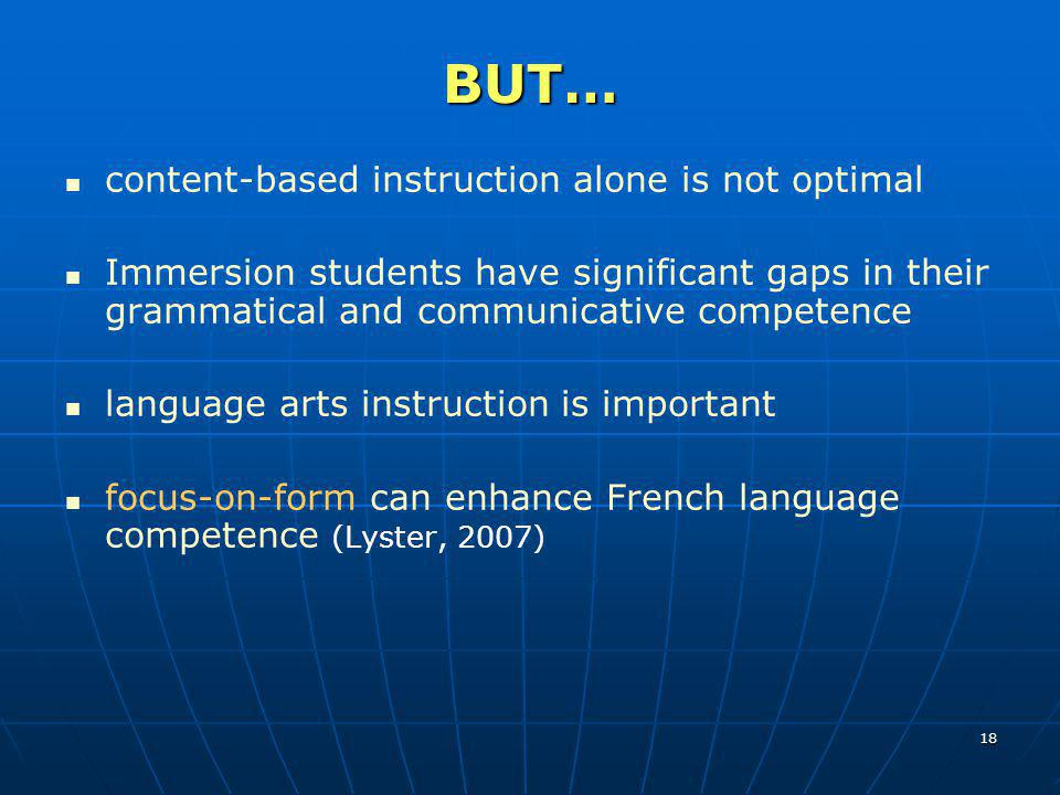 BUT… content-based instruction alone is not optimal