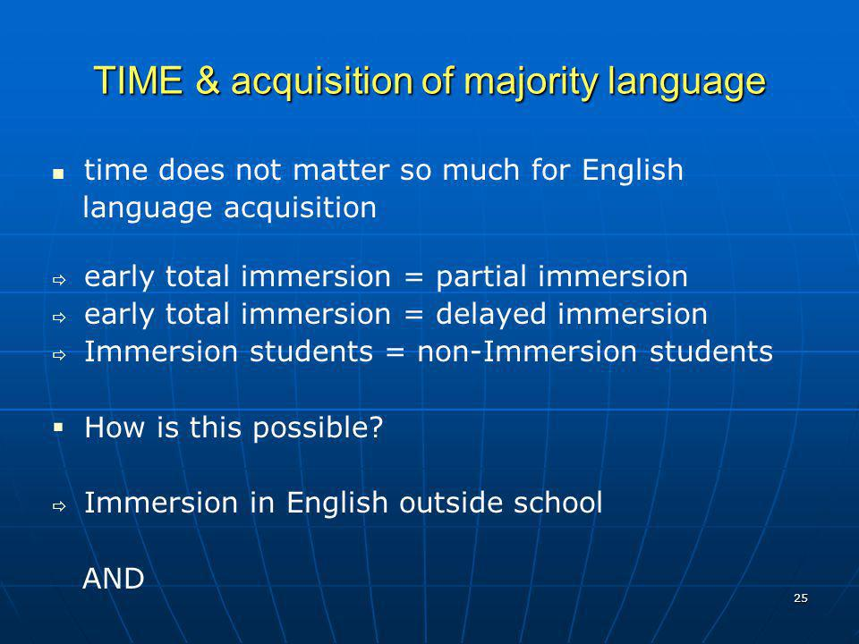 TIME & acquisition of majority language