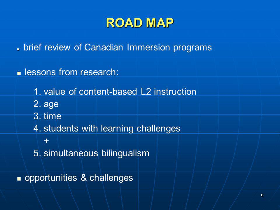 ROAD MAP lessons from research: