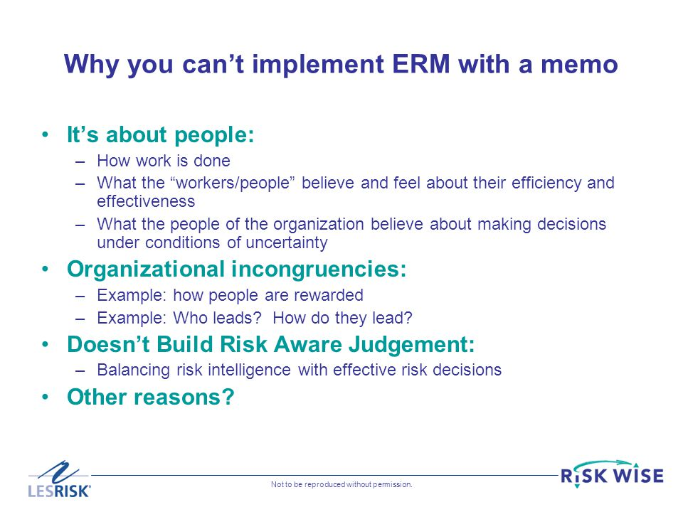 Why you can't implement ERM with a memo