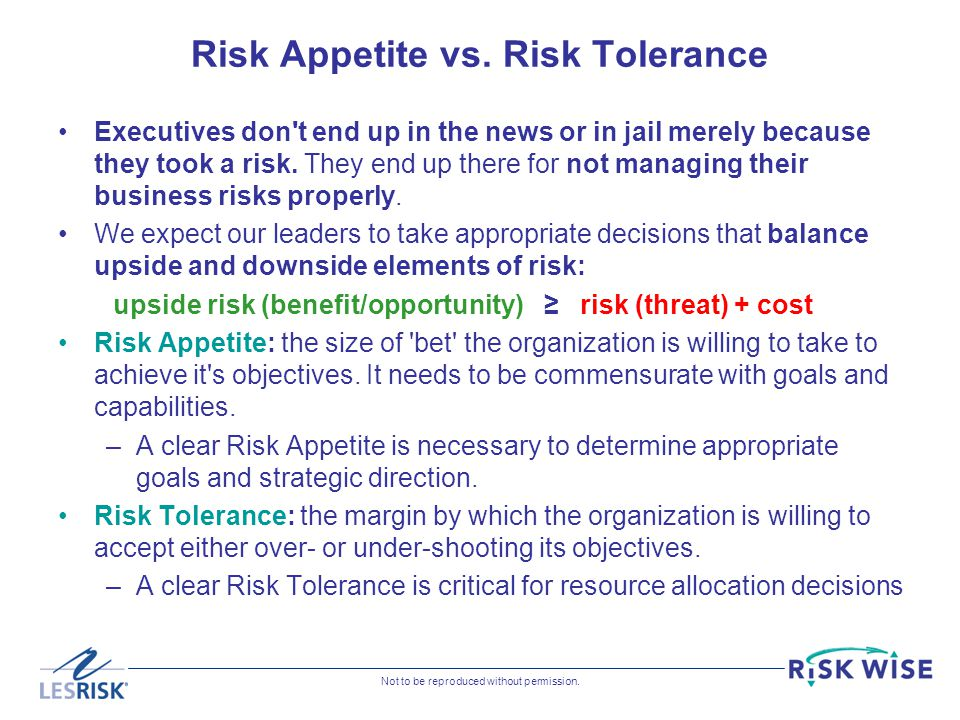 Risk Appetite vs. Risk Tolerance