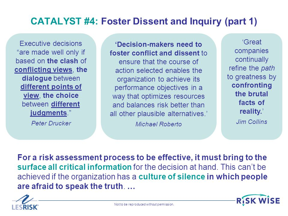 CATALYST #4: Foster Dissent and Inquiry (part 1)