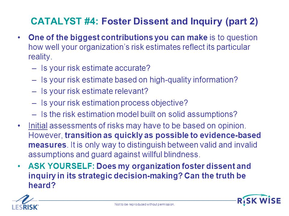 CATALYST #4: Foster Dissent and Inquiry (part 2)