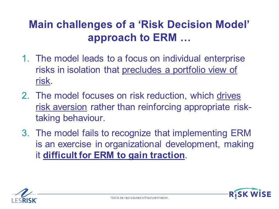 Main challenges of a 'Risk Decision Model' approach to ERM …