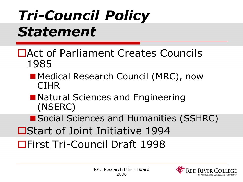 Tri-Council Policy Statement