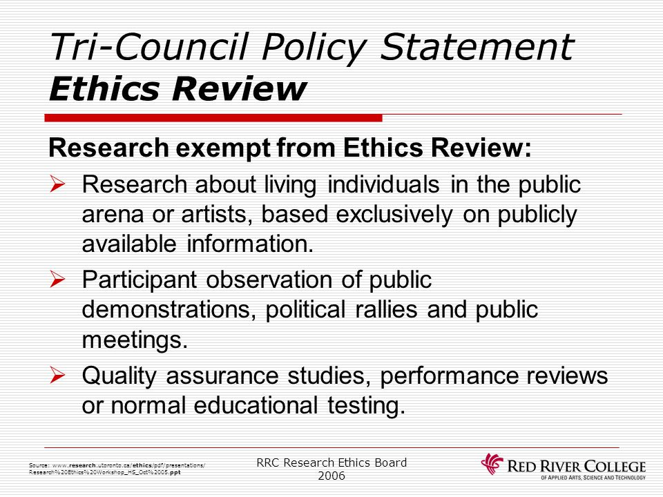 Tri-Council Policy Statement Ethics Review