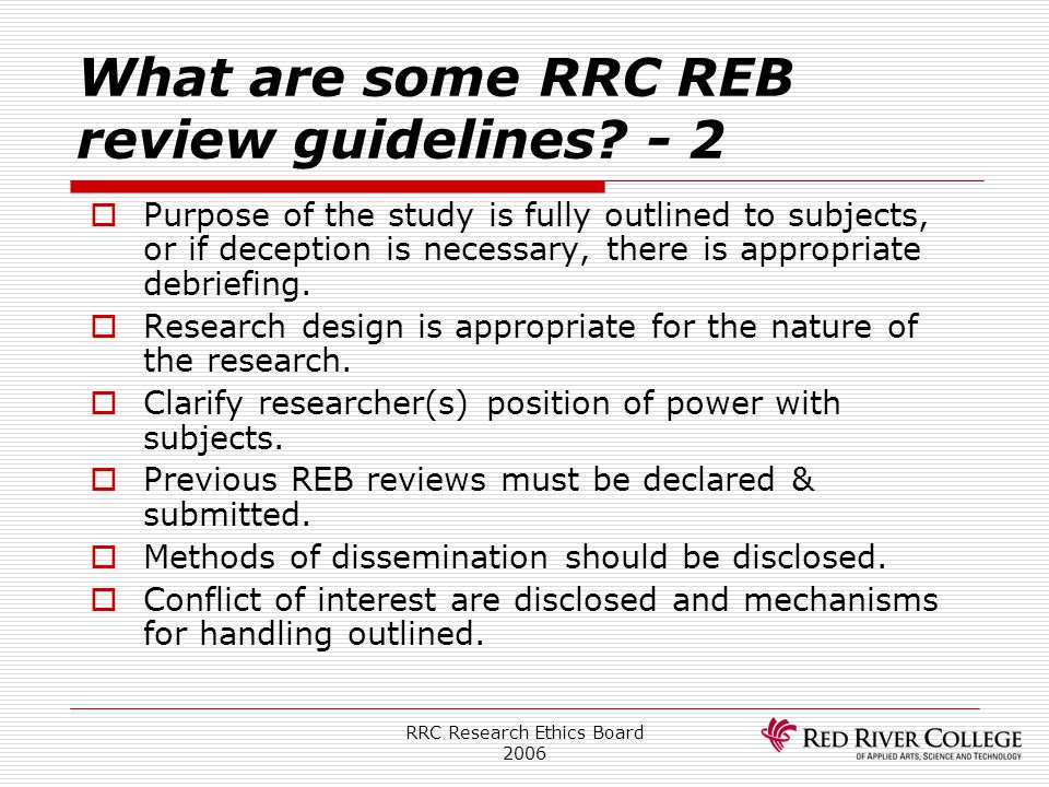 What are some RRC REB review guidelines - 2
