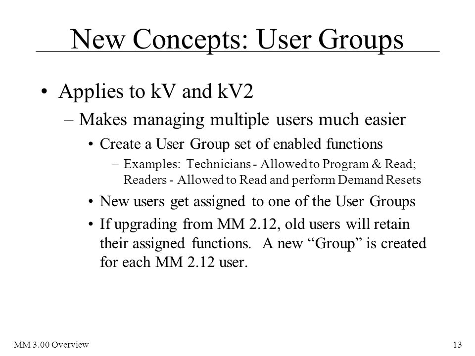 New Concepts: User Groups