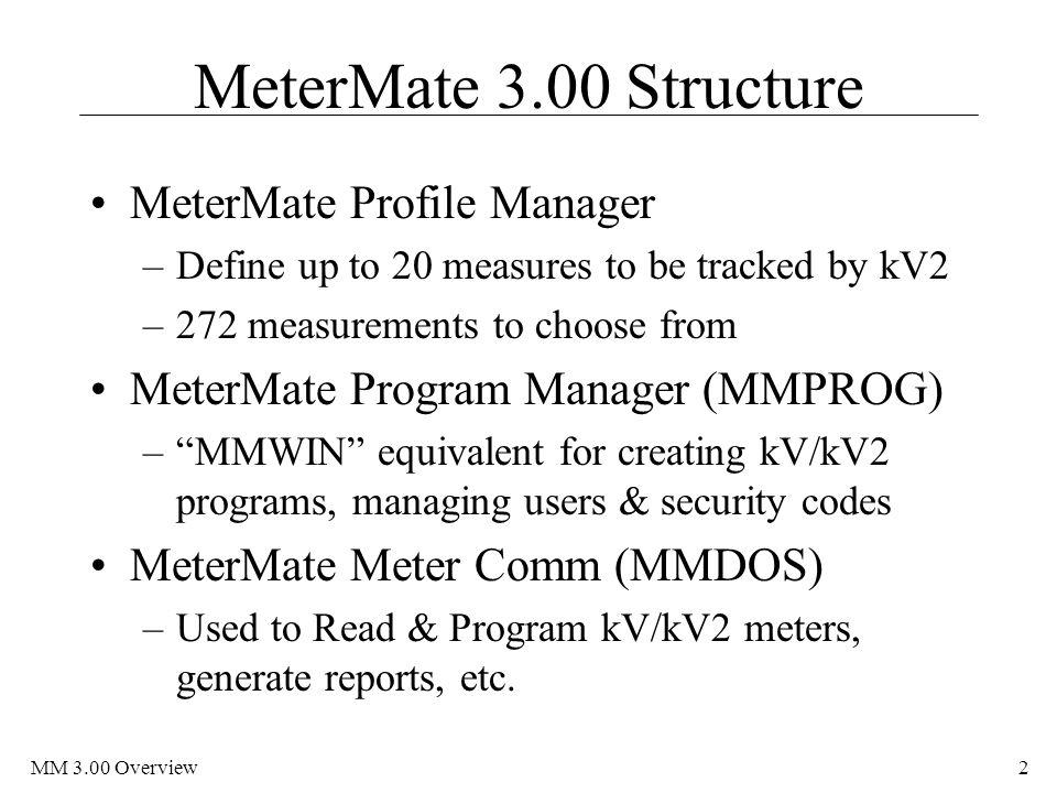 MeterMate 3.00 Structure MeterMate Profile Manager
