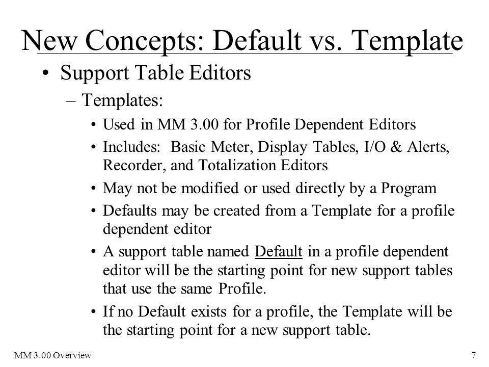 New Concepts: Default vs. Template